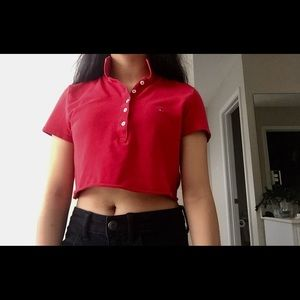 Tommy Hilfiger red polo crop top